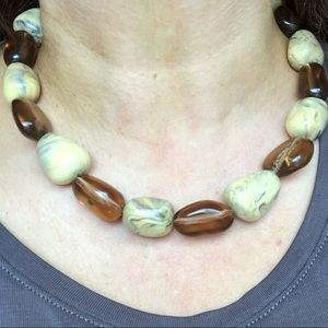 Vintage marbled Stone Necklace